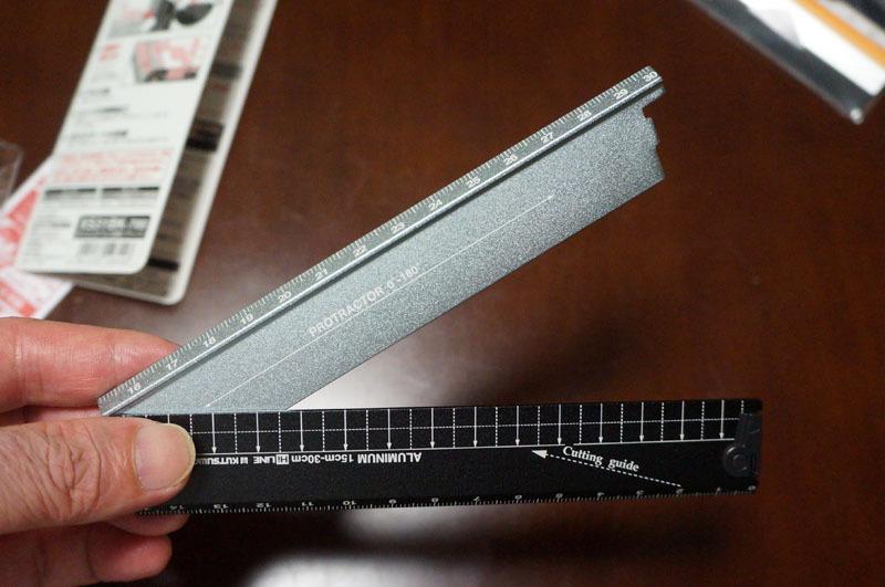 紙がきれいに切れる折りたたみアルミ定規 1.JPG