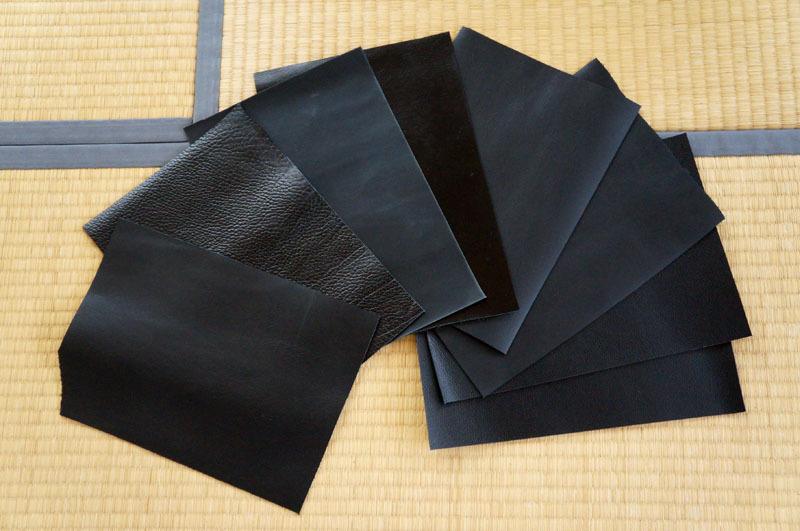 レザークラフト用ソフト牛革はぎれパック【黒系】約500g、A4サイズ×8枚+おまけ付き.JPG